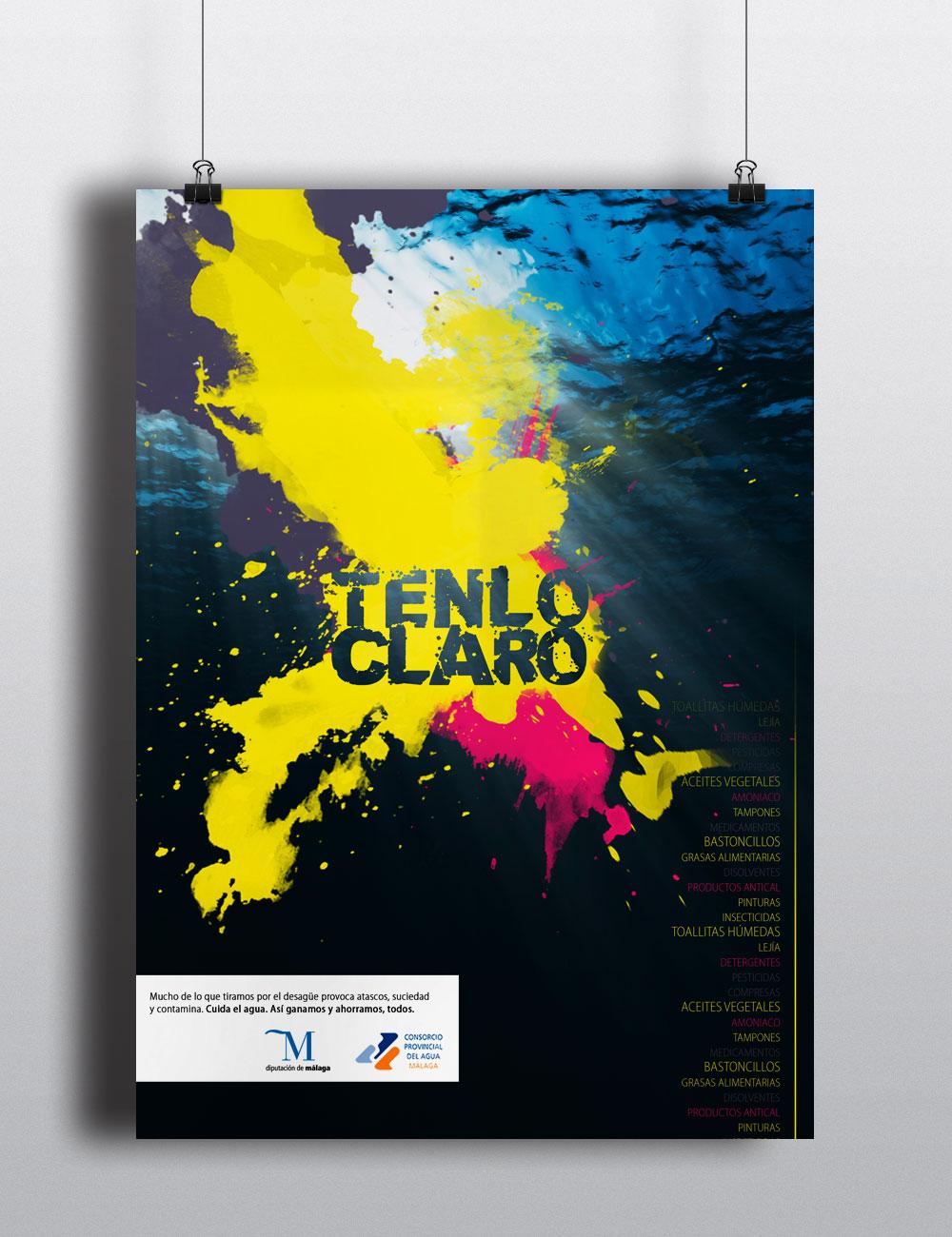 Poster tenlo claro campaña Málaga por Blanco Ruso