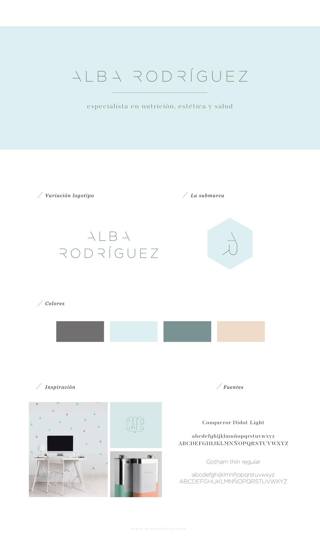 Branding logotipo tarjeta Alba Rodriguez por Blanco Ruso